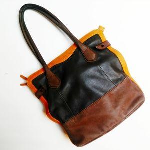 Perlina Tri Color Leather Tote Bag Leopard RARE
